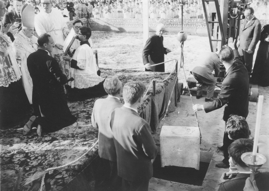 Italy - Laying of first stone of the temple at Colle Don Bosco