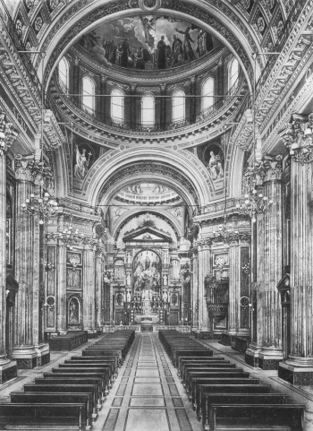 Turin, Italy - 1948 - Inside the Shrine of Mary Help of Christians, with a view of the dome, too