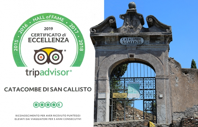 """Certificate of Excellence 2019"" for the Catacombs of Saint Callisto"