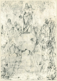 Italy - Sketch of the Image of Mary Help of Christians by Tommaso Lorenzone