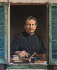 Spain – New painting of Don Bosco. Green shutter, a point of hope and trust in the future
