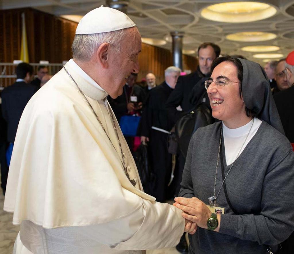 Alessandra Smerilli, con el Papa Francisco