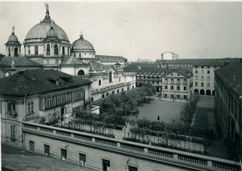 Turin, Italy - 1948 - The Shrine of Mary Help of Christians and the first courtyard of Valdocco
