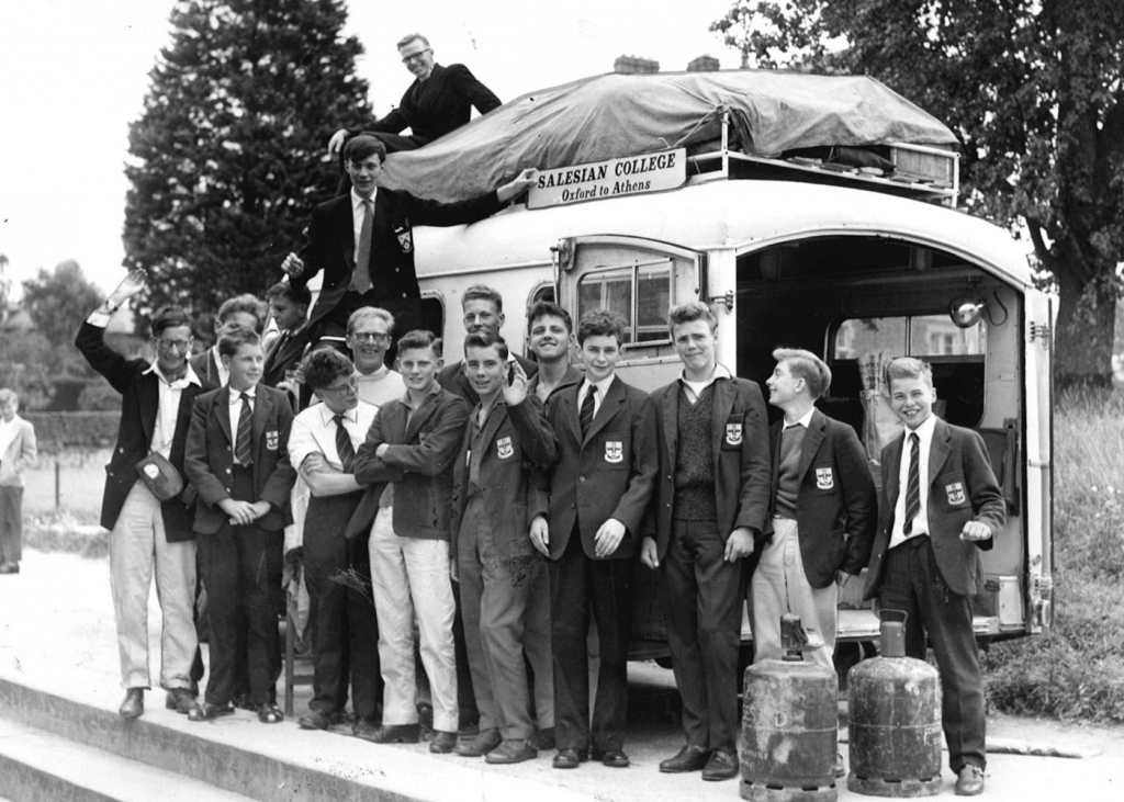 "England - Students of the ""Salesian College"" travel by ambulance"